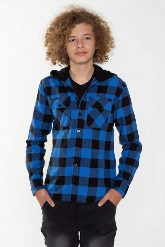 Koszula w czarno-niebieską kratę dla chłopaka