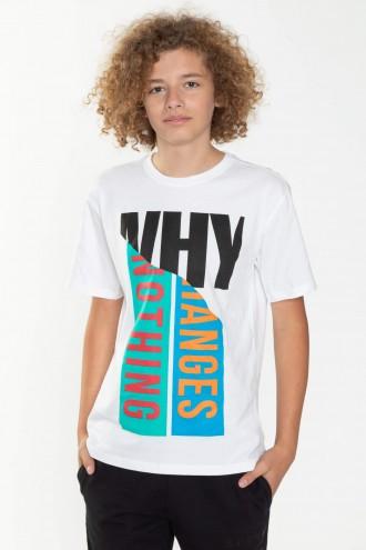 Biały T-shirt dla chłopaka WHY