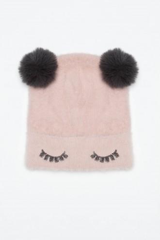 Różowa czapka z pluszowymi uszami