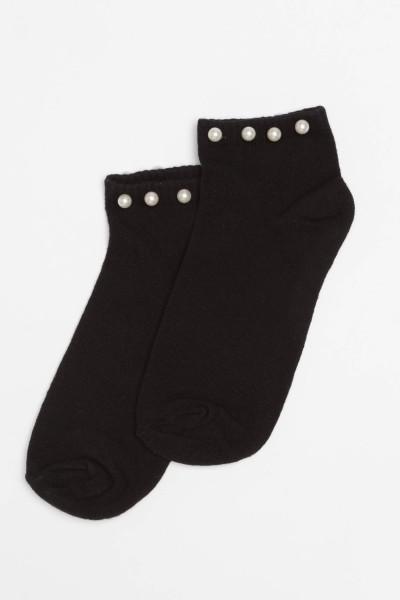 Czarne skarpetki z ozdobnymi perełkami dla dziewczyny