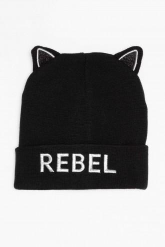 Czarna czapka z uszami REBEL
