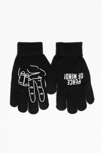 Rękawiczki z białym nadrukiem dla chłopaka