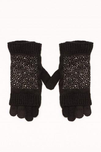 Rękawiczki dziewczęce z ozdobną nakładką