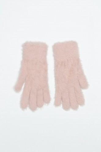 Rękawiczki dziewczęce w kolorze pudrowego różu