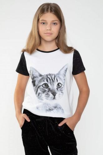 Biały T-shirt dla dziewczyny CAT
