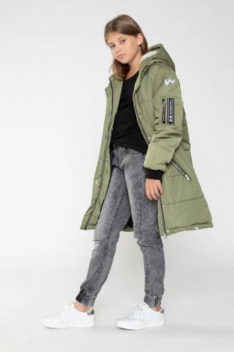 Przedłużana kurtka w kolorze khaki dla dziewczyny