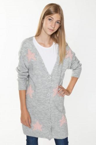 Szary zapinany sweter w gwiazdki