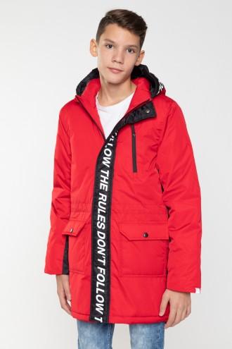 Czerwona przedłużana kurtka dla chłopaka