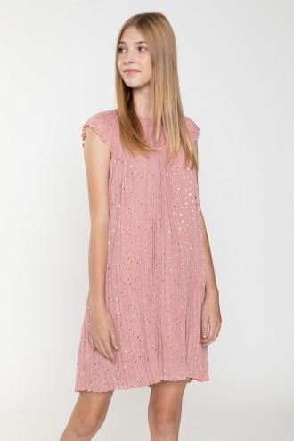 Różowa plisowana sukienka