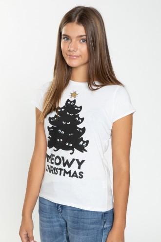 Świąteczny T-shirt MEOWY CHRISTMAS