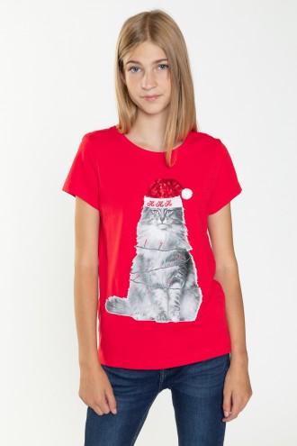 Świąteczny T-shirt dla dziewczyny KITTY