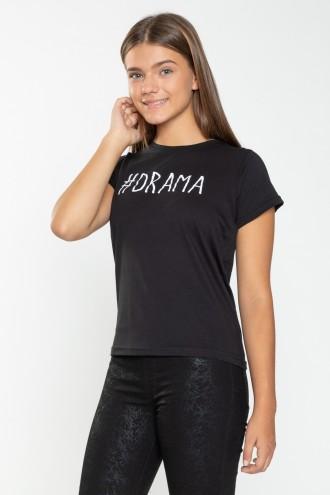 Czarny T-shirt dla dziewczyny DRAMA