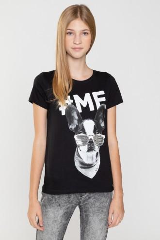 Czarny T-Shirt z nadrukiem dla dziewczyny