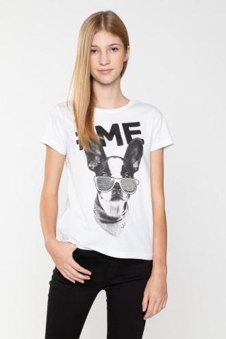 Biały T-shirt z nadrukiem dla dziewczyny