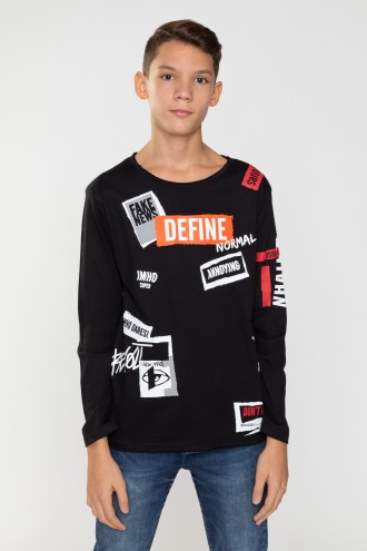 Czarny T-Shirt long sleeve DEFINE