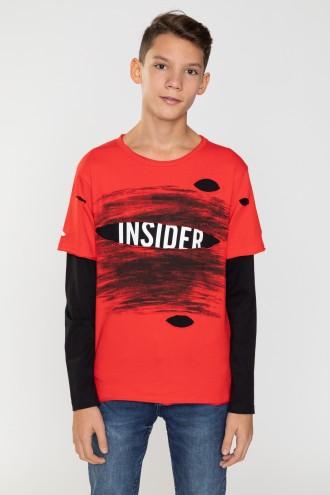 Czerwony T-shirt z czarnymi rękawami INSIDER