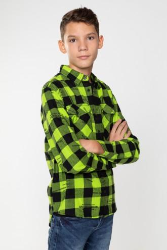 Limonkowa koszula w kratę dla chłopaka