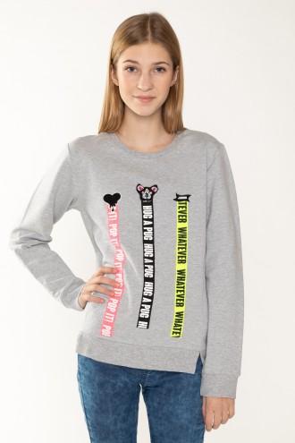 Szara bluza z ozdobnymi taśmami dla dziewczyny