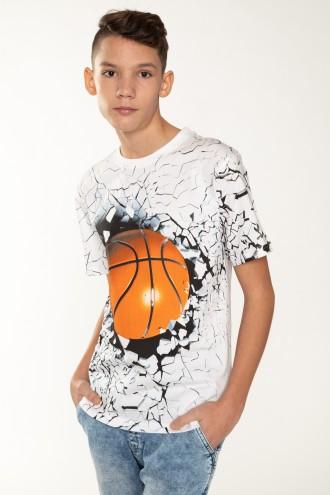 T-shirt dla chłopaka biały BASKETBALL