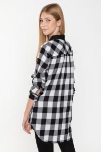Koszula w biało-czarną kratę dla dziewczyny