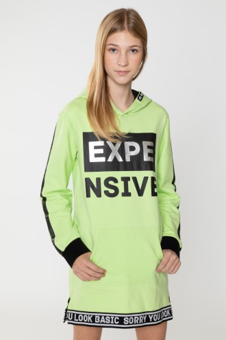 Neonowa przedłużana bluza z kapturem dla dziewczyny