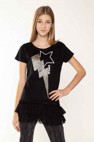 T-shirt z falbanką dla dziewczyny STAR