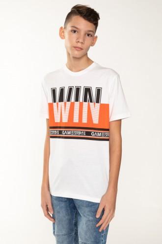 Biały T-Shirt z nadrukiem dla chłopaka WIN