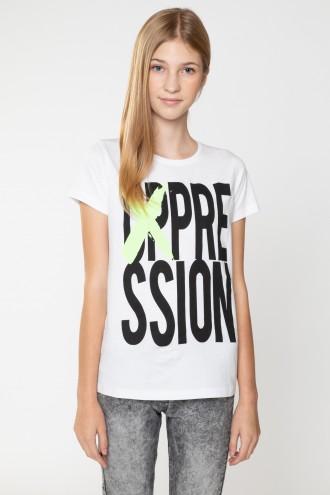 Biały T-Shirt z nadrukiem OPRESSION