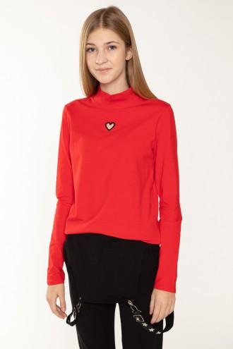 Czerwona bluzka z długim rękawkiem HEART