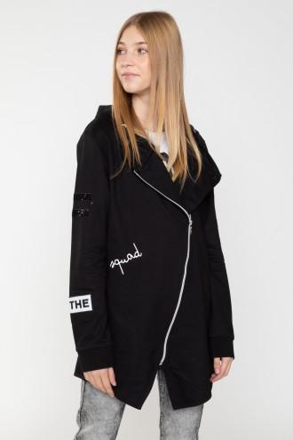 Czarna asymetryczna bluza dla dziewczyny SQUAD