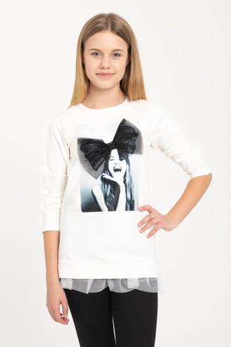 Kremowa bluza z trójwymiarową aplikacją dla dziewczyny