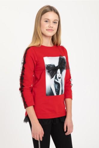 Czerwona bluza z trójwymiarową aplikacją dla dziewczyny