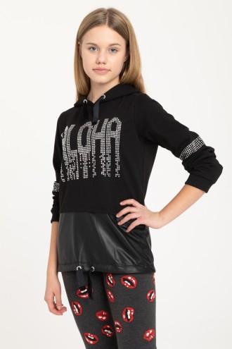 Czarna bluza z kapturem ALOHA