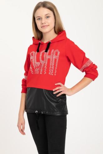 Czerwona bluza z kapturem ALOHA