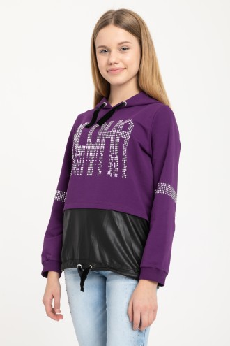 Fioletowa bluza z kapturem ALOHA