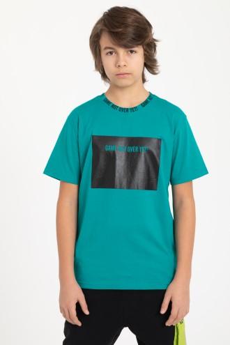 Zielony T-Shirt z czarnym nadrukiem