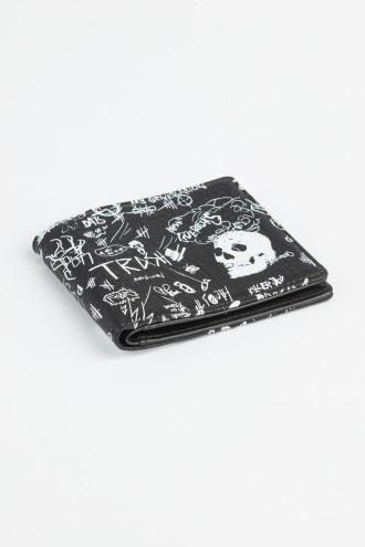 Czarny portfel z nadrukiem