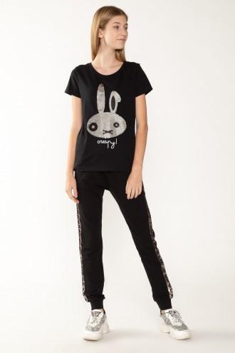 Czarne spodnie dresowe z ozdobnym lampasem dla dziewczyny