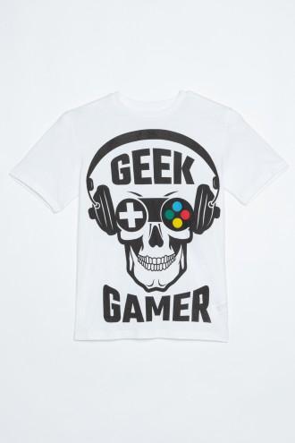 Biały T-Shirt dla chłopaka GEEK GAMER