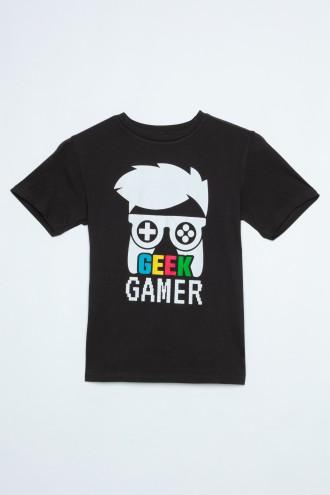 Czarny T-Shirt dla chłopaka GEEK GAMER
