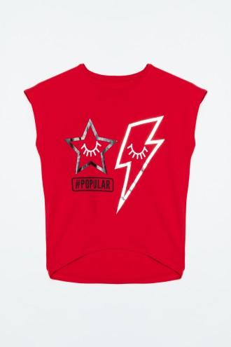 Czerwony T-Shirt POPULAR dla dziewczyny