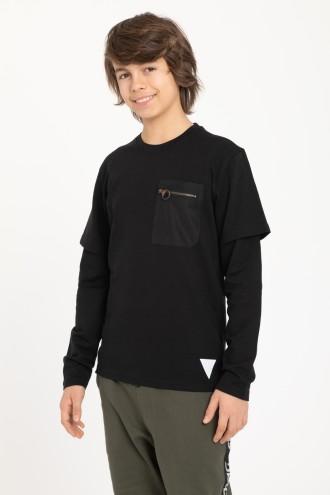 T-Shirt long sleeve z ozdobną kieszenią