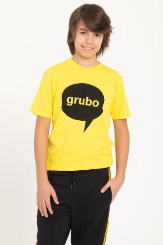 Żółty T-Shirt z nadrukiem GRUBO