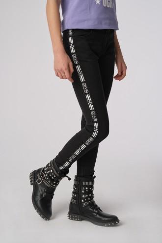 Czarne spodnie dziewczęce z ozdobnymi lampasami