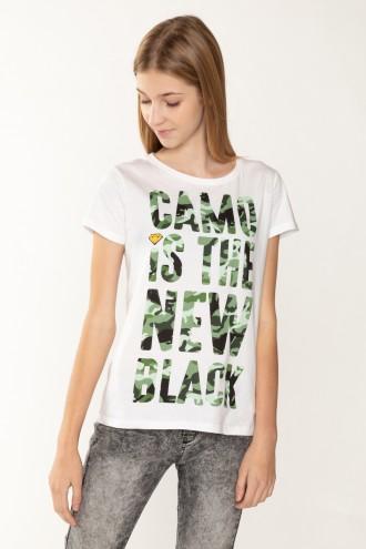 Biały T-Shirt dla dziewczyny CAMO