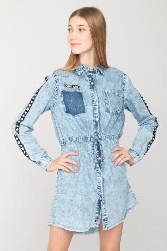 Rozpinana sukienka jeansowa z wiązaniem w pasie
