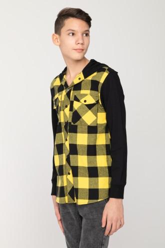 Koszula z kapturem w żółto-czarną kratę
