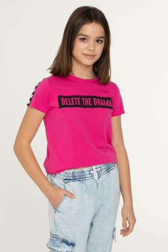 Różowy T-shirt DELETE the DRAMA