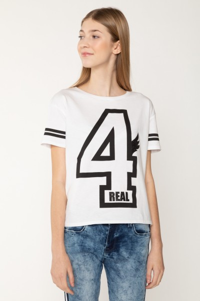 Biały T-shirt  4REAL dla dziewczyny