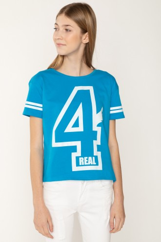 Niebieski T-shirt 4REAL dla dziewczyny